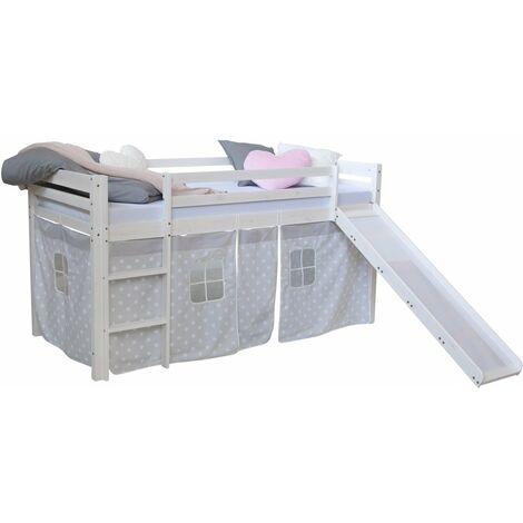 Lit mezzanine pour enfant 90x200cm avec échelle toboggan en bois blanc avec tissu gris étoile - gris