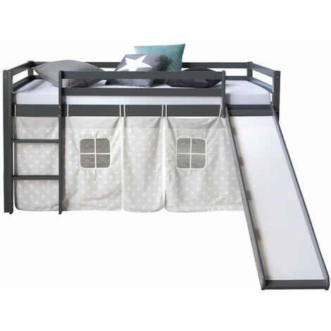 Lit mezzanine pour enfant 90x200cm avec échelle toboggan en bois gris avec tissu étoile - gris