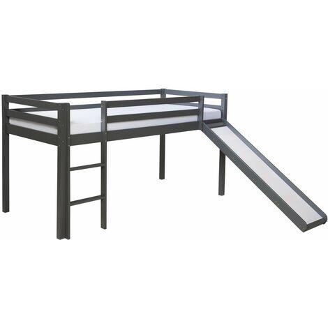 Lit mezzanine pour enfant 90x200cm avec échelle toboggan en bois gris - gris