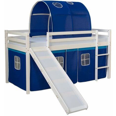 Lit mezzanine pour enfant avec sommier toboggan tunnel rideau modèle bleu 90x200 cm - bleu