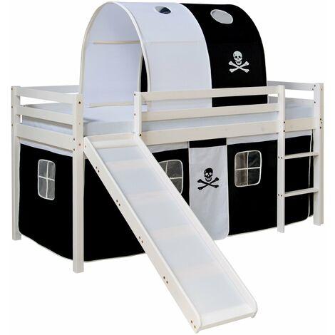 Lit mezzanine pour enfant avec sommier toboggan tunnel rideau modèle noir pirate 90x200 cm - noir
