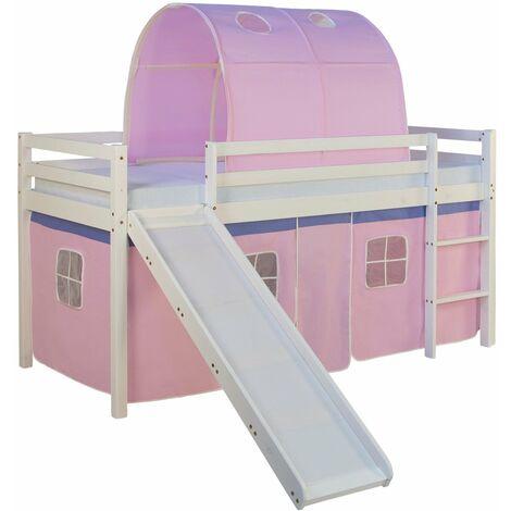 Lit mezzanine pour enfant avec sommier toboggan tunnel rideau modèle rose 90x200 cm - Rose