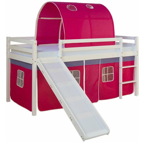 Lit mezzanine pour enfant avec sommier toboggan tunnel rideau modèle rose foncé 90x200 cm - Rose