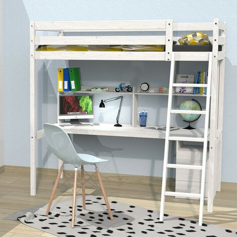 Lit mezzanine STUDIO 140x190 + 1 sommier + caisson 3 tiroirs + bureau + étagère / Blanchi
