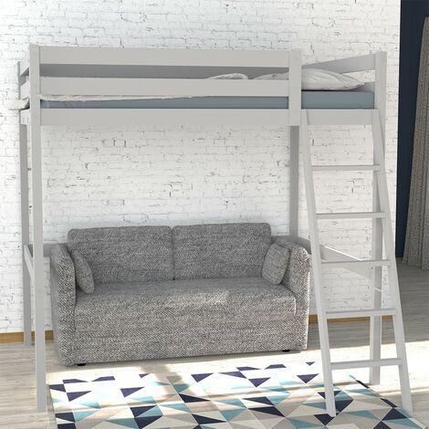 Lit mezzanine STUDIO 140x190 + 1 sommier / Gris