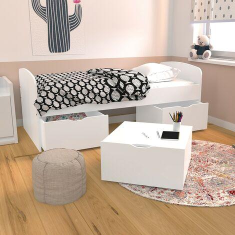 Lit MIA 90x190 + 1 sommier + 2 tiroirs + 1 coffre table basse / Blanc/ 193x95x61 cm