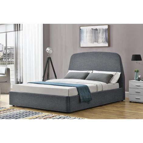 Lit Nacka - Cadre de lit à rangement 2 Places Gris