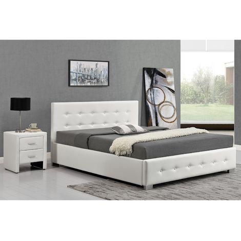 Lit Newington - Structure de lit capitonnée Noir avec coffre de rangement intégré - 160x200 cm