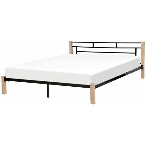 Lit noir moderne avec pieds en bois 180 x 200 cm