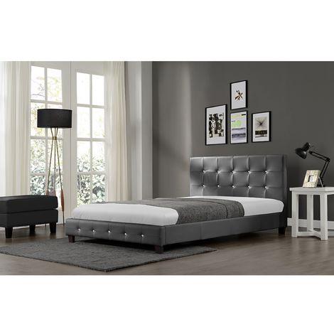 Lit Notting Hill - Cadre de lit en simili capitonné Gris - 160x200cm