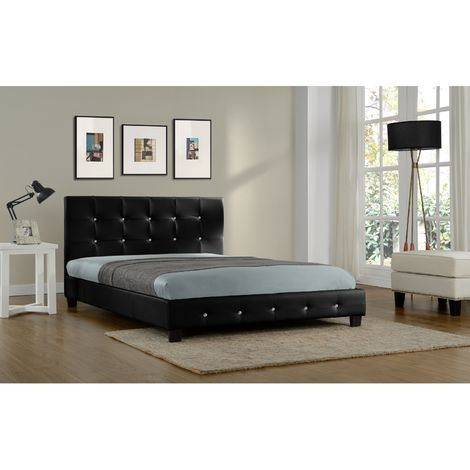 Lit Notting Hill - Cadre de lit en simili capitonné Noir - 160x200cm