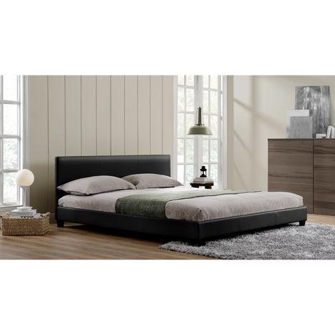 Lit Oxford - Cadre de lit en simili Noir - 140x190cm