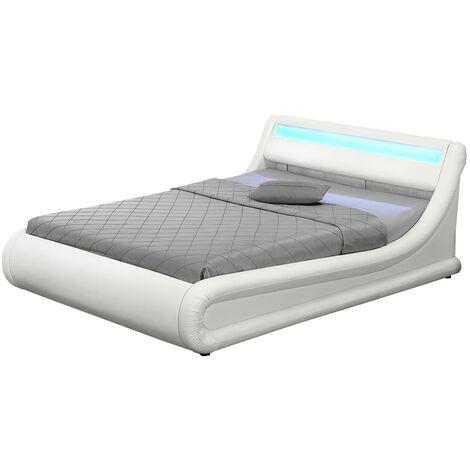 Lit Portland - Structure de lit en PU Blanc avec rangements et LED intégrées - 140x190 cm