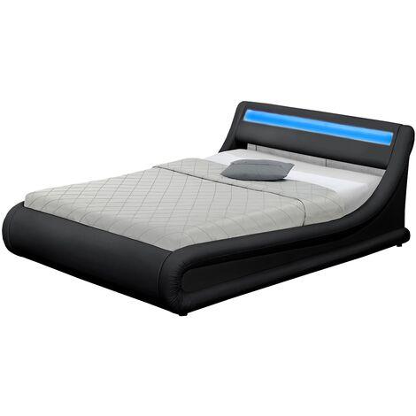 Lit Portland - Structure de lit en PU Noir avec rangements et LED intégrées - 140x190 cm