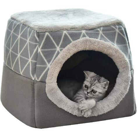 Lit pour animal de compagnie Lit pour chat Canapé pour chat Grotte pour chat avec oreiller intérieur super doux et moelleux Lit de couchage chaud et doux Maison pour chat antidérapante et respirante, lavable L