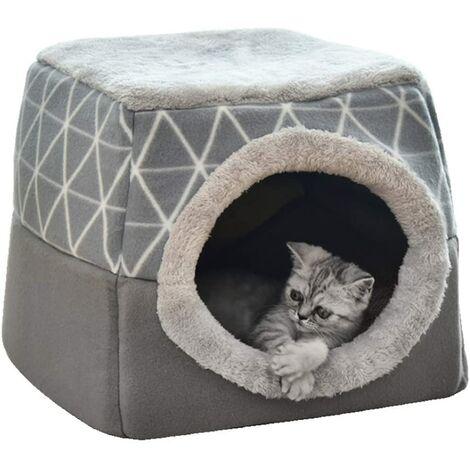 Lit pour animal domestique Lit pour chat Canapé pour chat Grotte pour chat avec oreiller intérieur super doux et moelleux Lit de couchage chaud et moelleux Maison pour chat antidérapante et respirante, lavable L