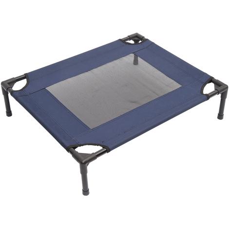 Lit pour chien chat lit de camp grand confort sur pieds tissu oxford textilène micro-perforé 76L x 61l x 18H cm bleu marine noir