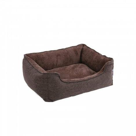 Lit pour chien panier pour chien revêtement en tissu style ours en peluche déhoussable et lavable en machine 75 cm marron - Marron