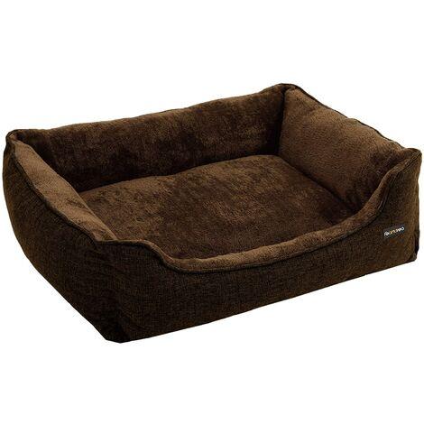 Lit pour chien panier pour chien revêtement en tissu style ours en peluche déhoussable et lavable en machine marron 90 cm - Marron