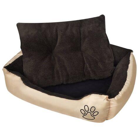 lit pour chien taille XXL beige et marron