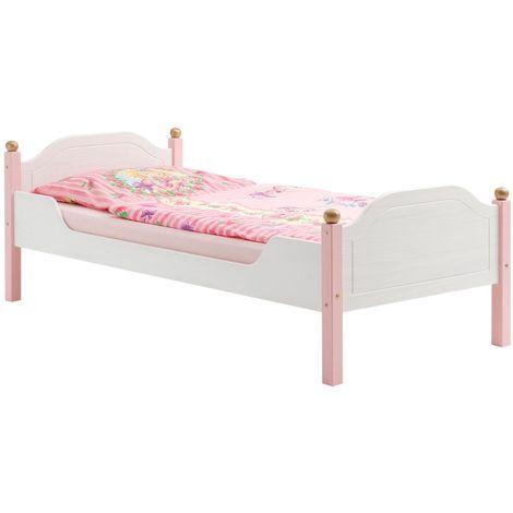 Lit pour enfant ISABELLA couchage 90 x 200 cm 1 personne idéal pour une fille, en pin massif lasuré blanc et rose