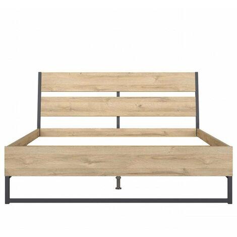 Lit Queen Size industriel ATRATO bois décor chêne clair piètement noir métal couchage 160*200 cm - natural