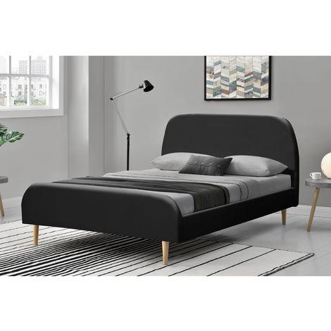 Lit Sandvik - Cadre de lit scandinave Noir avec pieds en bois - 140x190cm