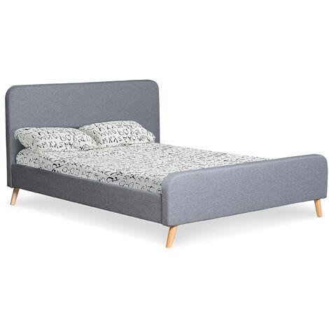 Lit scandinave avec tête de lit et sommier 160 x 200cm Nebula Tissu Gris - Gris