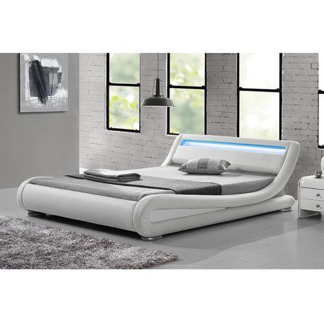 Lit Seattle - Structure de lit Simili Blanc avec LED intégrées
