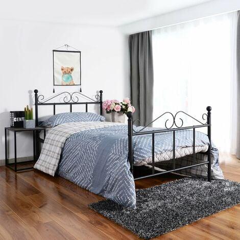 lit simple en métal Cadre de lit 90x190cm-Noir