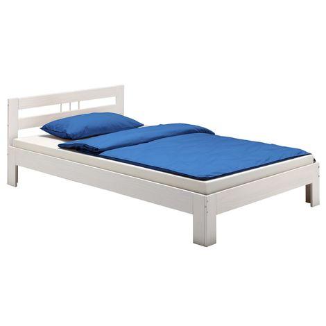 Lit simple THEO 120 x 200 cm lit pour enfant et adulte en pin massif lasuré blanc, avec tête de lit