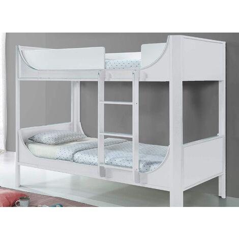 Lit superposé enfant en bois blanc THIMEO 90 x 190 cm