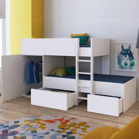 Lit superposé TWIN 90x190 avec armoire et tiroirs + 2 sommiers / Blanc/ 252x111x145 cm