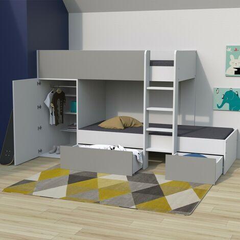 Lit superposé TWIN 90x190 avec armoire et tiroirs + 2 sommiers / Blanc et Gris/ 252x111x145 cm