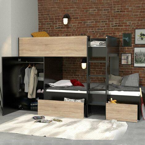 Lit superposé TWIN 90x190 avec armoire et tiroirs + 2 sommiers / Noir et Chêne blanchi/ 252x111x145 cm