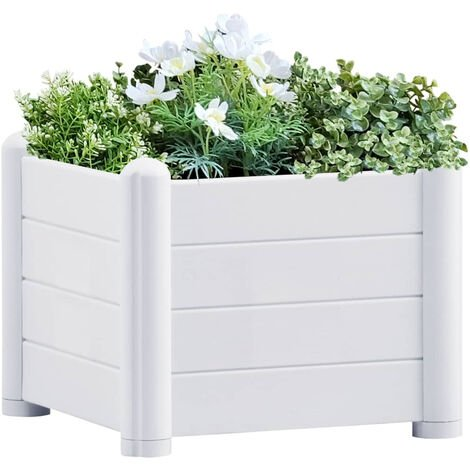 Lit sureleve de jardin PP Blanc 43x43x35 cm