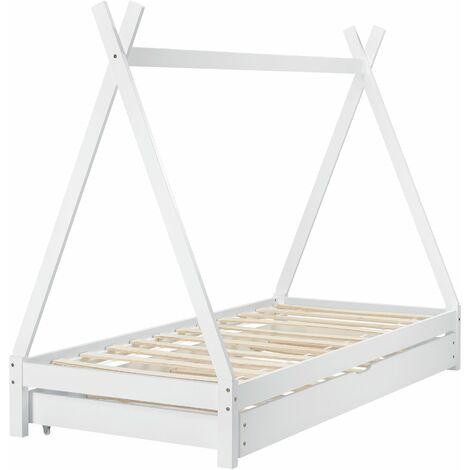 Lit tipi gigogne pour enfant avec 2 couchages lit d'appoint en bois de pin blanc avec sommier à lattes 90x200 cm - blante