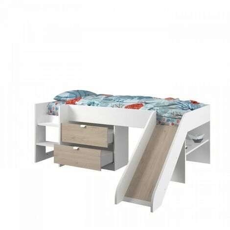 Lit toboggan enfant - Décor Blanc et Chene Jackson - Sommier inclus - 90 x 200 cm - SLIDE