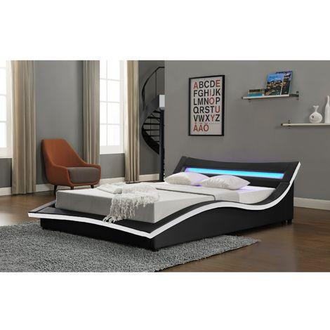 Lit Trafalgar - Cadre de lit en simili Noir avec LED intégrées - 160x200cm