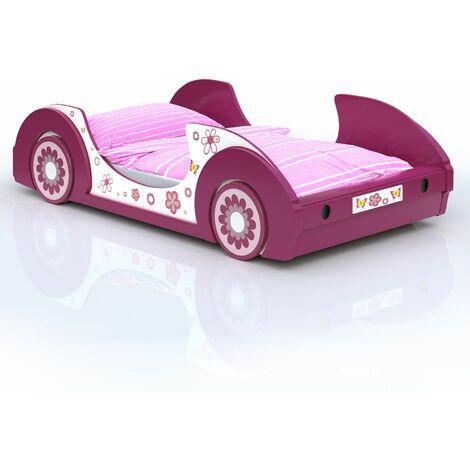"""Lit voiture rose """"Butterfly"""" Motifs fleurs Lit fille avec Sommier lattes 90x200 cm"""