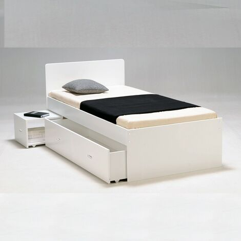 Lit XENIA 90x190 + 1 chevet + 1 tiroir / Blanc/