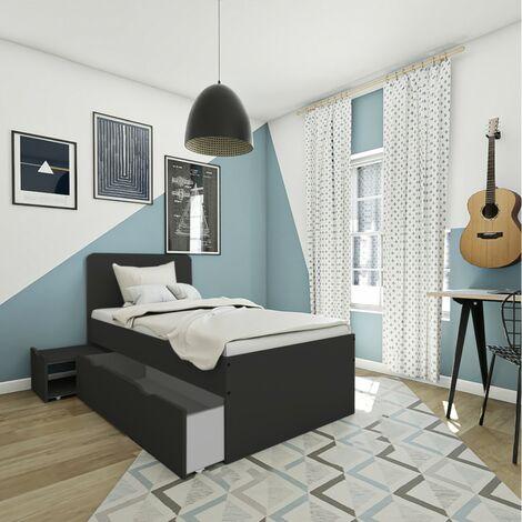 Lit XENIA 90x190 + 1 chevet + 1 tiroir / Noir/