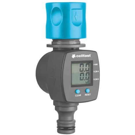 Liter/Gallon Counter Garden Hose Water Flow Meter Quick Connection LCD Screen