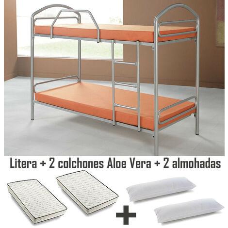 Litera Metalica + 2 Colchones Flexitex Aloe Vera + 2 Almohadas de Fibra
