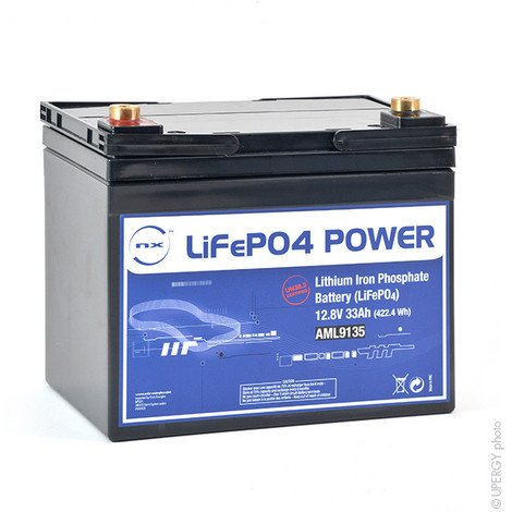Lithium iron phosphate battery NX LiFePO4 POWER UN38.3 (409.6Wh) 12V 33Ah M6-F
