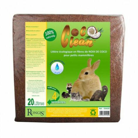 Litière écologique en fibres de noix de coco pour petits mammifères Coco Clean 20 litres
