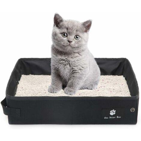 Litière portable pour chats, litière pliable, légère, souple et étanche, idéale pour voyager