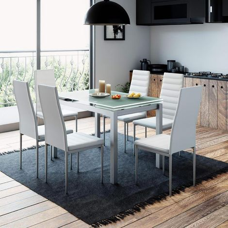 LITORAL - Table extensible avec 6 chaises blanches