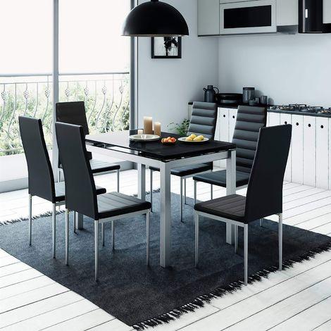 LITORAL - Table extensible avec 6 chaises noires