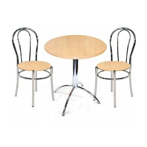 Litrax Small Round Beech Kitchen Dining Table Set Chrome Frame With 2 Chairs